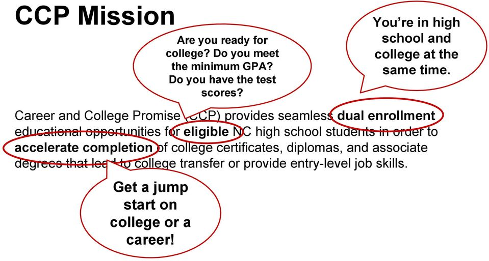 Career and College Promise (CCP) provides seamless dual enrollment educational opportunities for eligible NC high