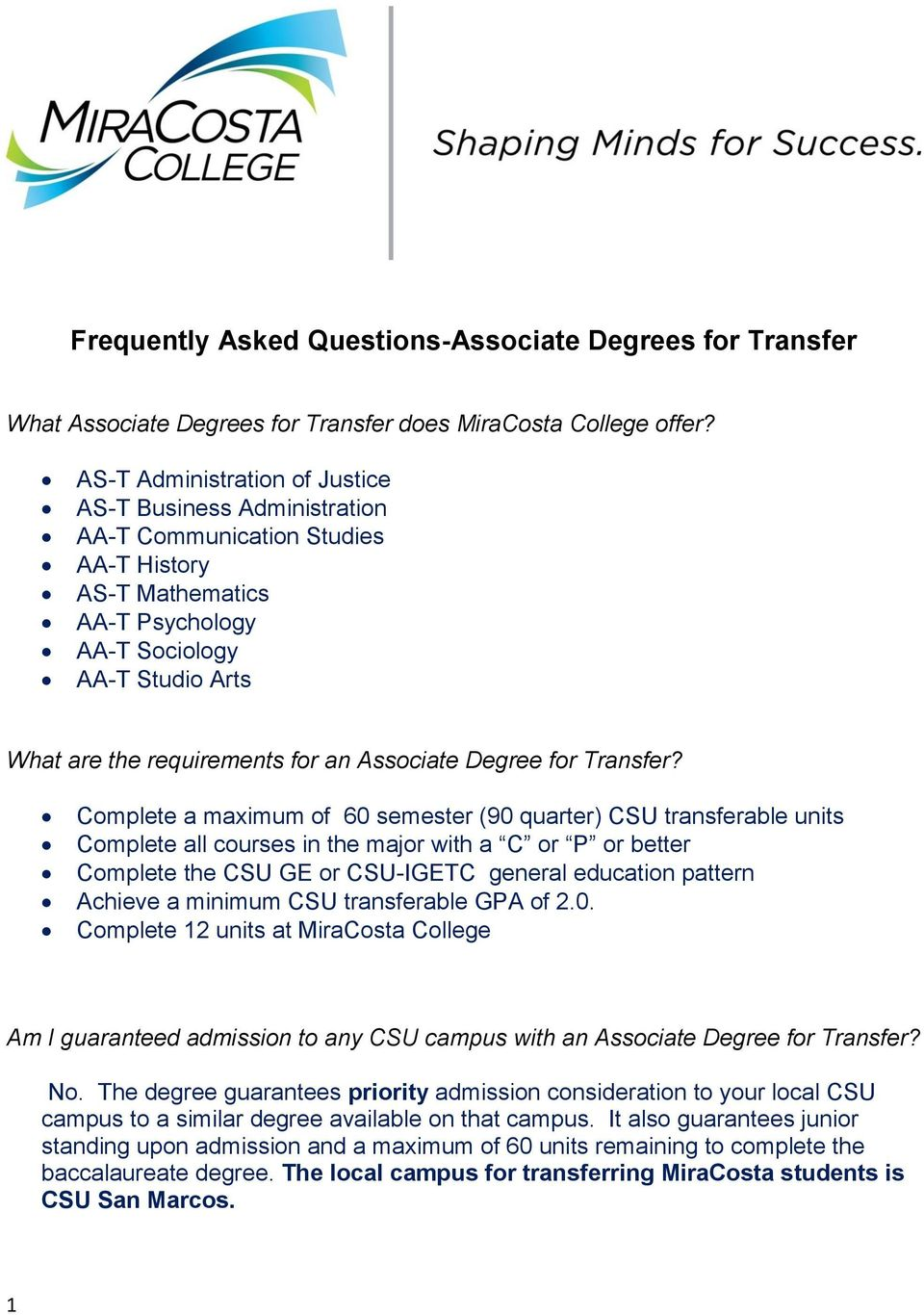 Associate Degree for Transfer?
