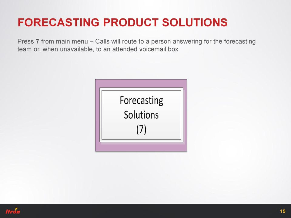 the forecasting team or, when unavailable, to an
