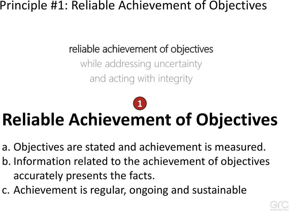 Objectives are stated and achievement is measured. b.