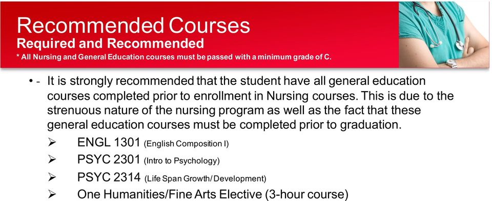 This is due to the strenuous nature of the nursing program as well as the fact that these general education courses must be completed prior to