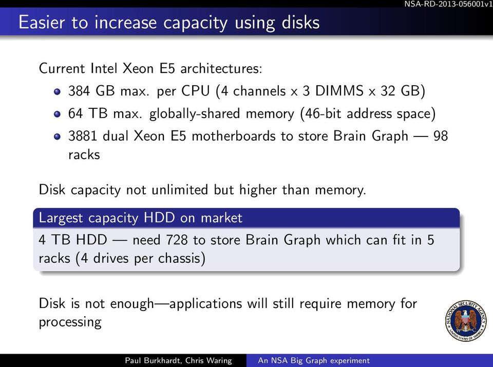 globally-shared memory (46-bit address space) 3881 dual Xeon E5 motherboards to store Brain Graph 98 racks Disk capacity