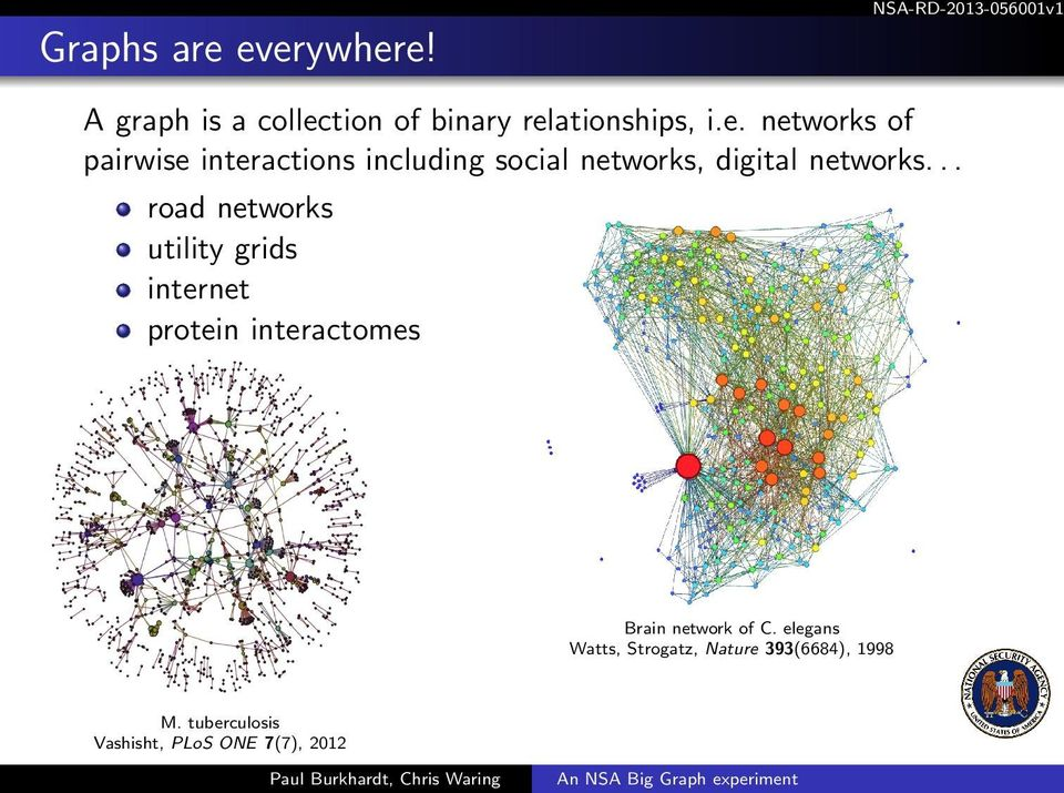 .. road networks utility grids internet protein interactomes Brain network of C.