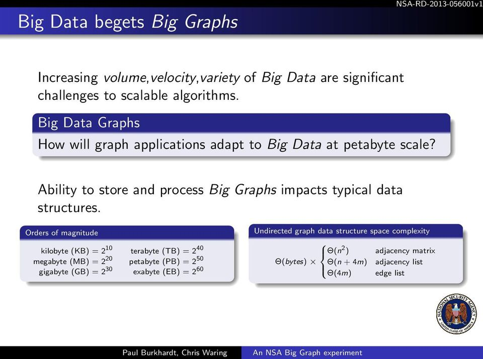 Ability to store and process Big Graphs impacts typical data structures.