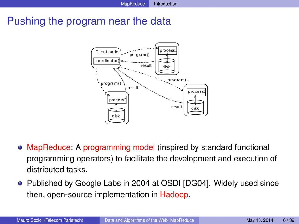 facilitate the development and execution of distributed tasks. Published by Google Labs in 2004 at OSDI [DG04].