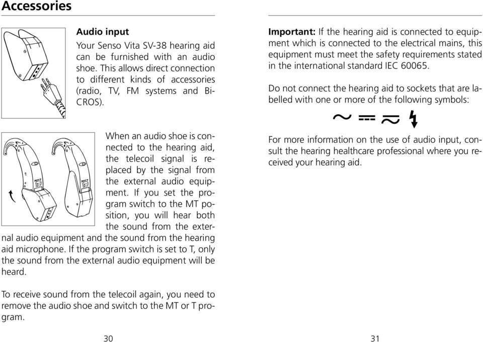 Do not connect the hearing aid to sockets that are labelled with one or more of the following symbols: When an audio shoe is connected to the hearing aid, the telecoil signal is replaced by the