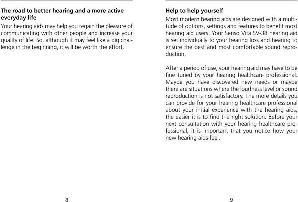 Help to help yourself Most modern hearing aids are designed with a multitude of options, settings and features to benefit most hearing aid users.
