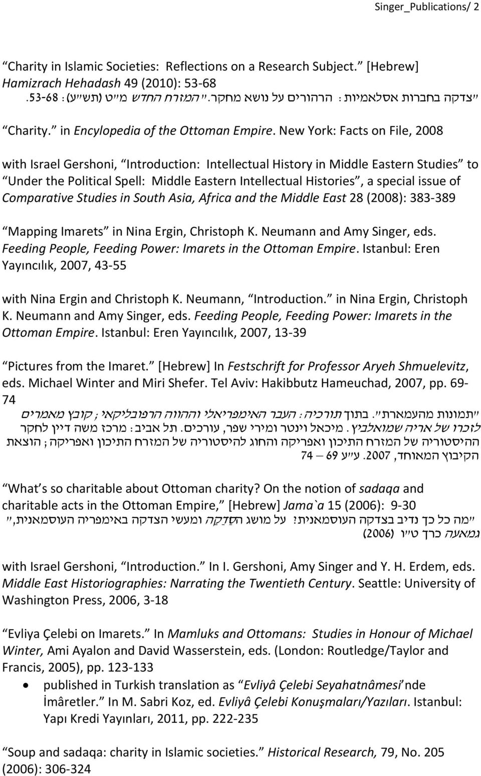 New York: Facts on File, 2008 with Israel Gershoni, Introduction: Intellectual History in Middle Eastern Studies to Under the Political Spell: Middle Eastern Intellectual Histories, a special issue