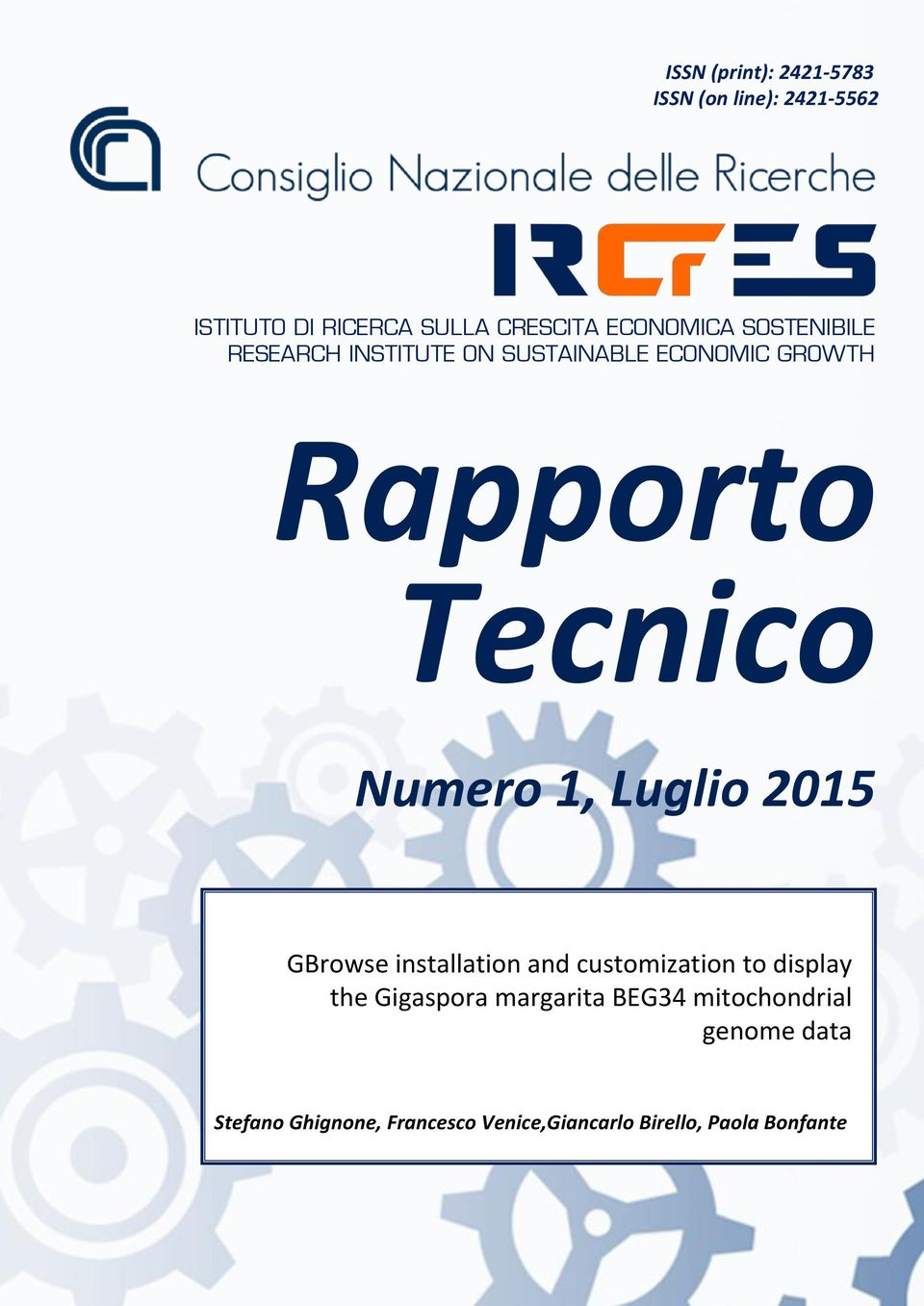 Numero 1, Luglio 2015 GBrowse installation and customization to display the Gigaspora