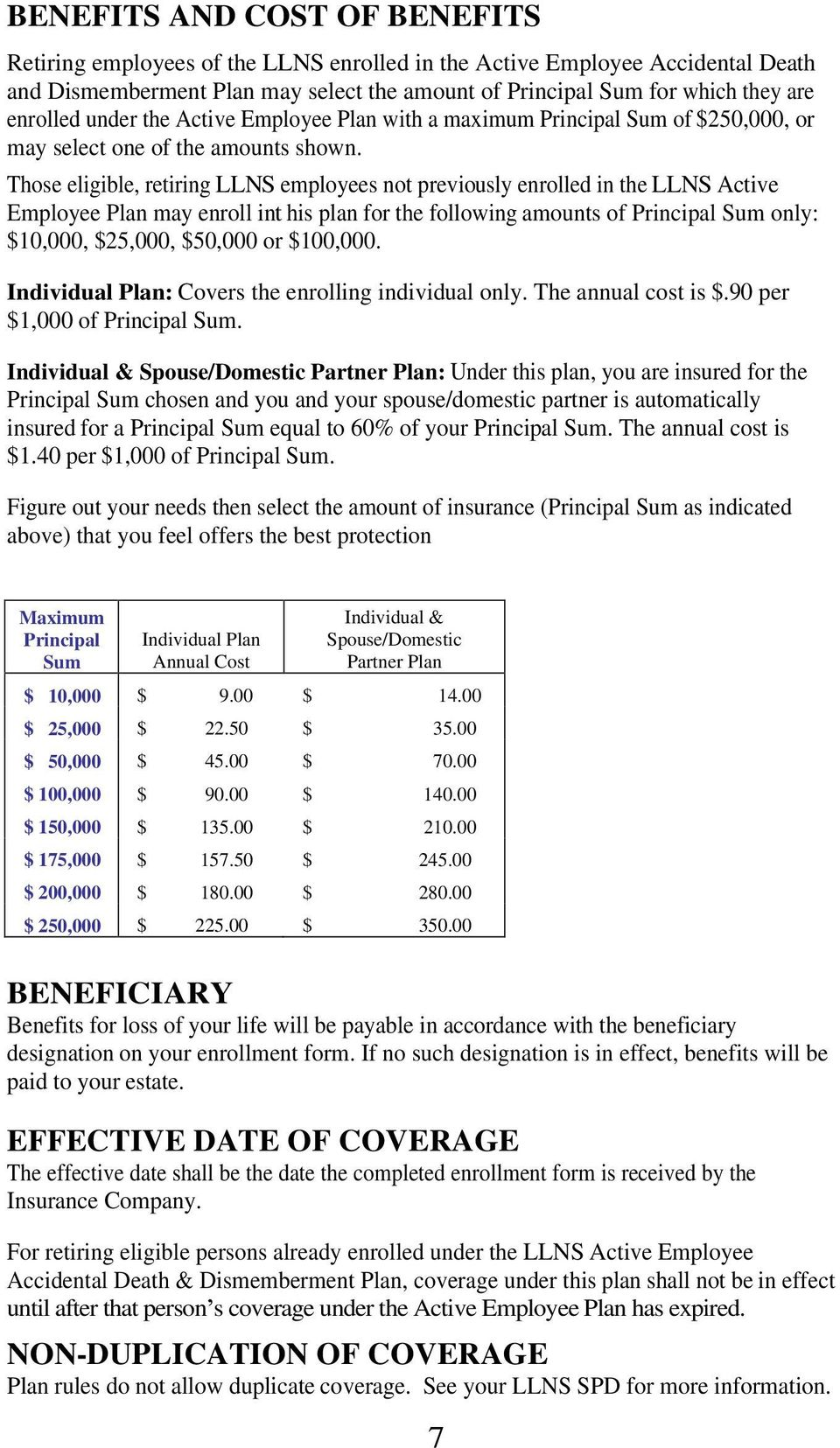 Those eligible, retiring LLNS employees not previously enrolled in the LLNS Active Employee Plan may enroll int his plan for the following amounts of Principal Sum only: $10,000, $25,000, $50,000 or