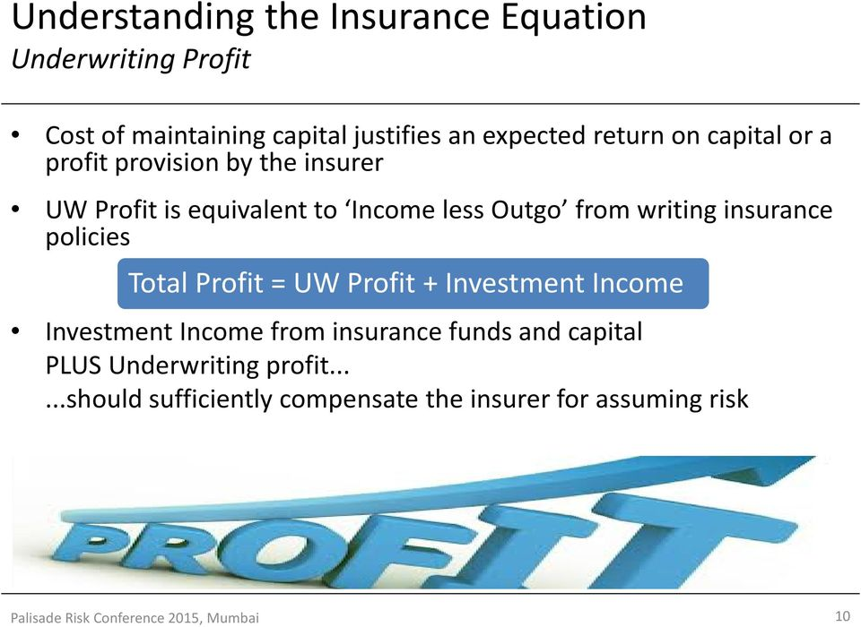policies Total Profit = UW Profit + Investment Income Investment Income from insurance funds and capital PLUS