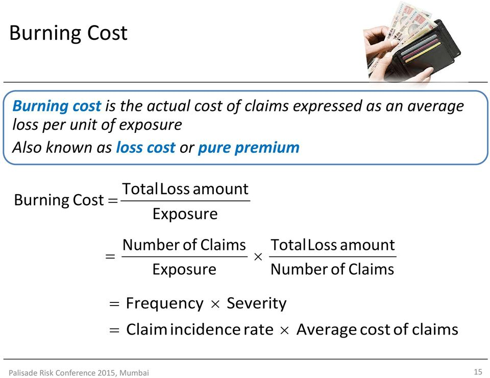 Exposure = Numberof Claims Exposure TotalLoss amount Numberof Claims = = Frequency