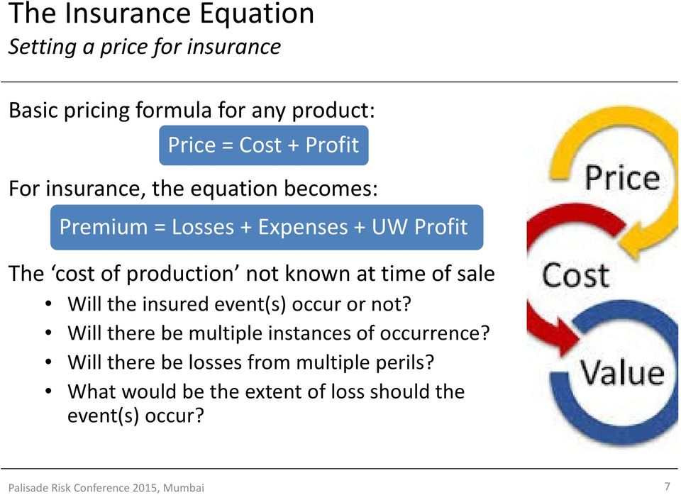 sale Will the insured event(s) occur or not? Will there be multiple instances of occurrence?