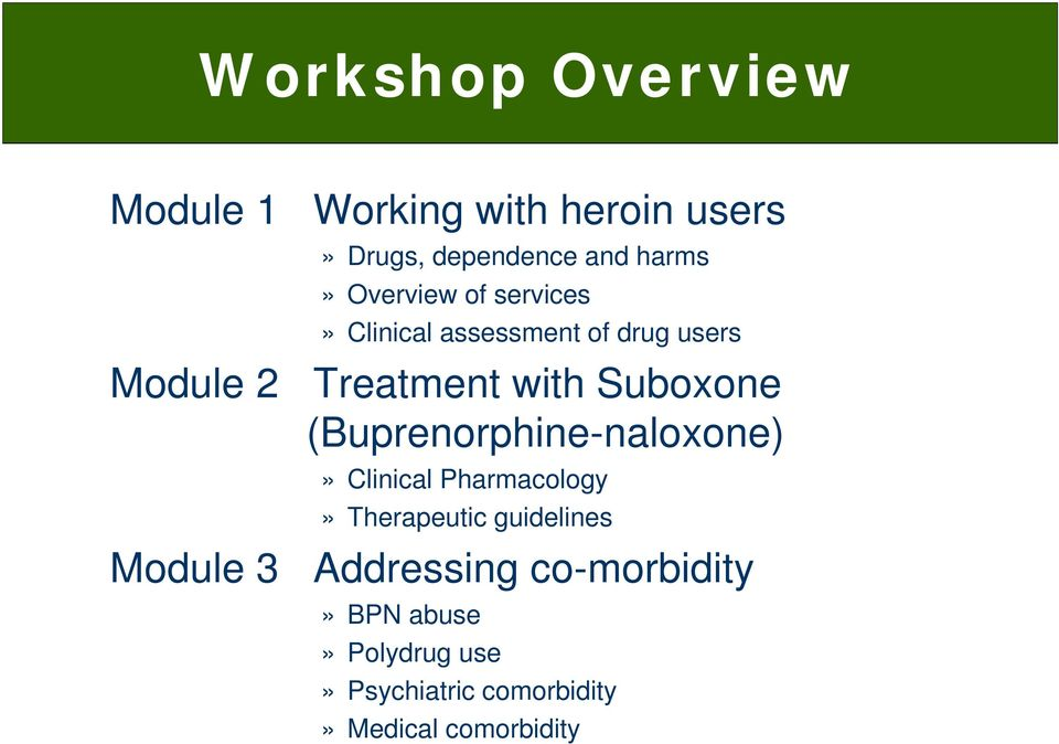 Suboxone (Buprenorphine-naloxone)» Clinical Pharmacology» Therapeutic guidelines Module