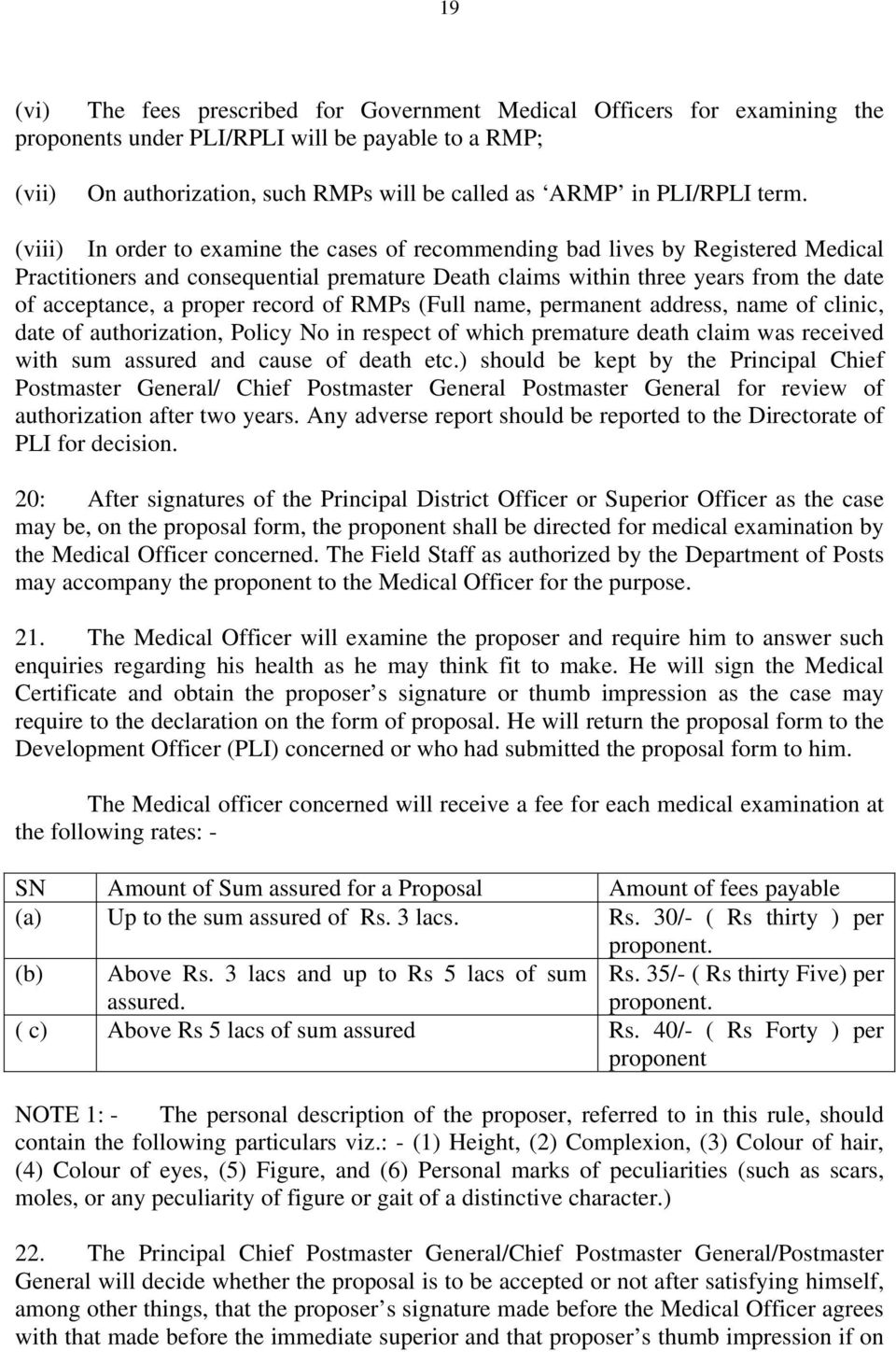 proper record of RMPs (Full name, permanent address, name of clinic, date of authorization, Policy No in respect of which premature death claim was received with sum assured and cause of death etc.