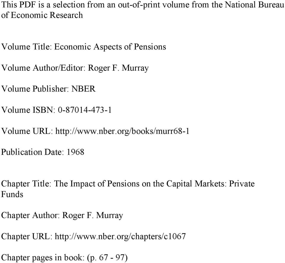 Murray Volume Publisher: NBER Volume ISBN: 0-87014-473-1 Volume URL: http://www.nber.