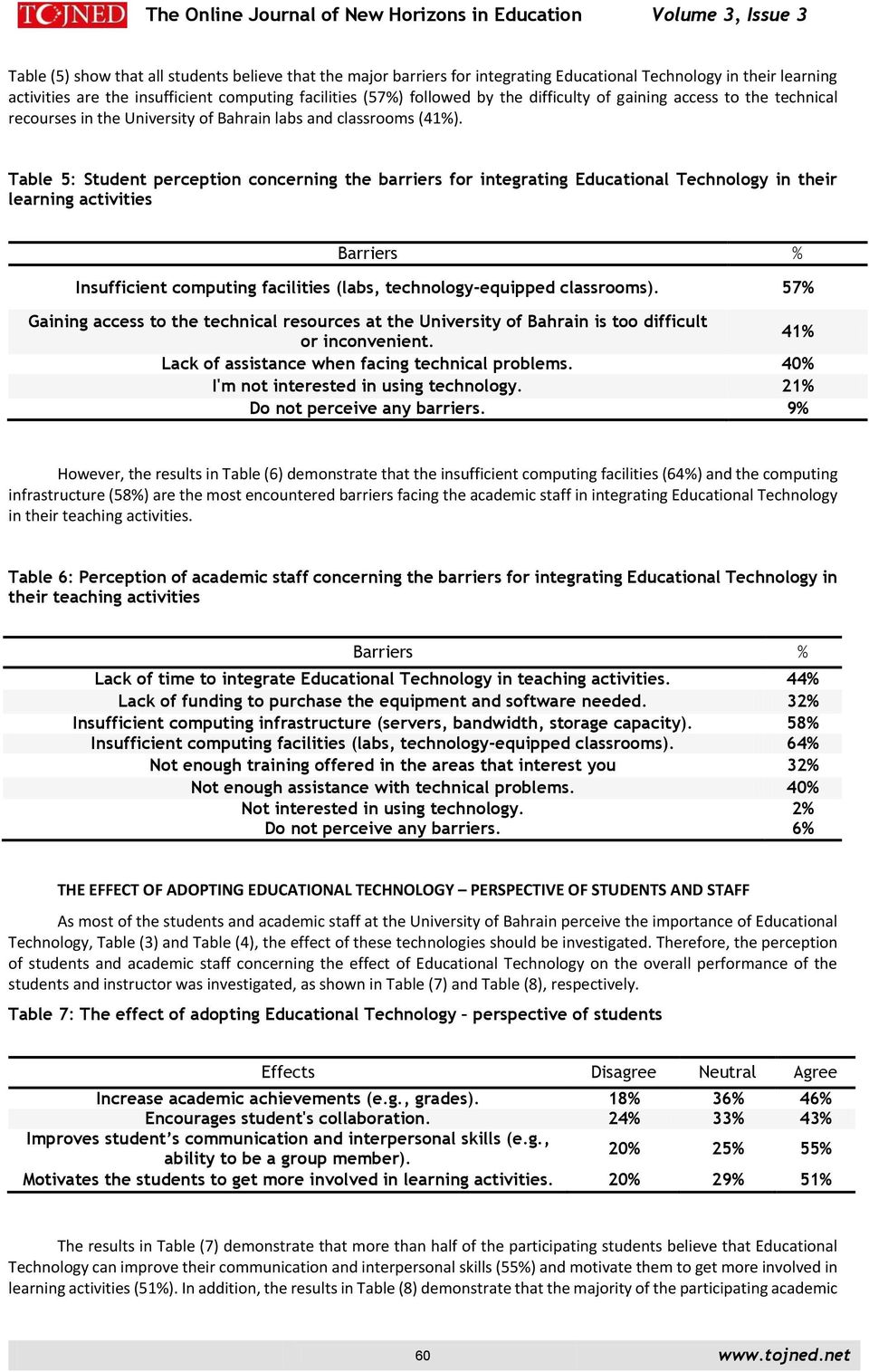 Table 5: Student perception concerning the barriers for integrating Educational Technology in their learning activities Barriers % Insufficient computing facilities (labs, technology-equipped