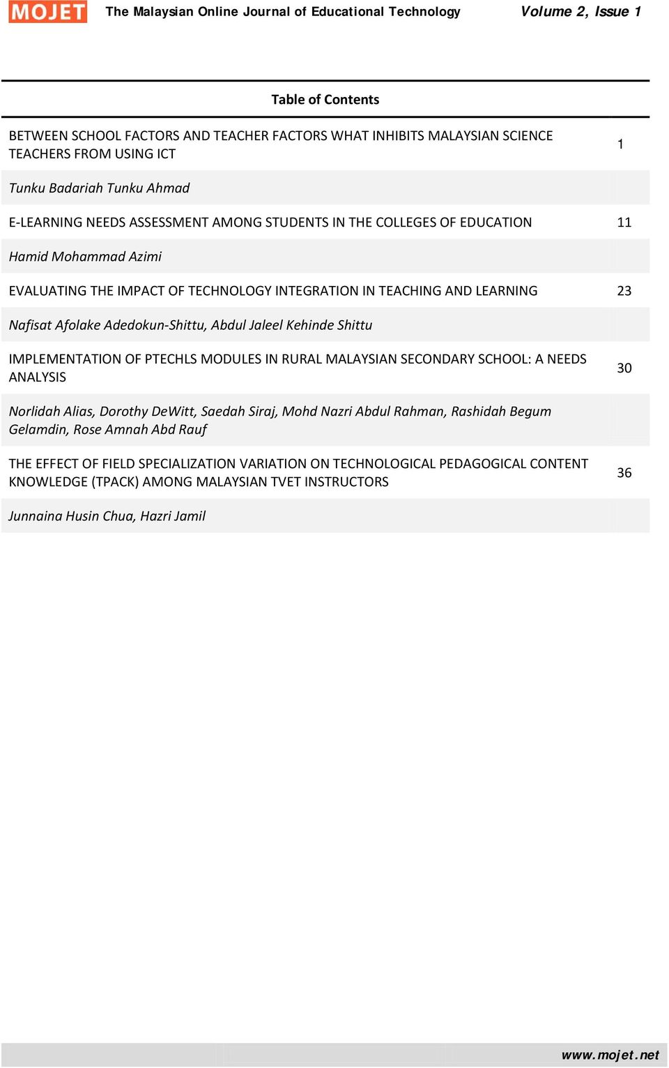 Shittu IMPLEMENTATION OF PTECHLS MODULES IN RURAL MALAYSIAN SECONDARY SCHOOL: A NEEDS ANALYSIS 30 Norlidah Alias, Dorothy DeWitt, Saedah Siraj, Mohd Nazri Abdul Rahman, Rashidah Begum