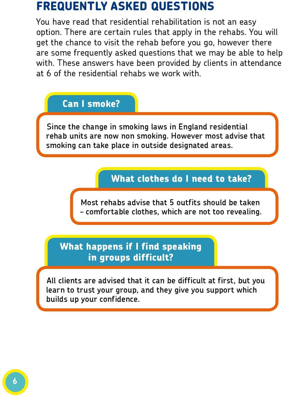 These answers have been provided by clients in attendance at 6 of the residential rehabs we work with. Can I smoke?