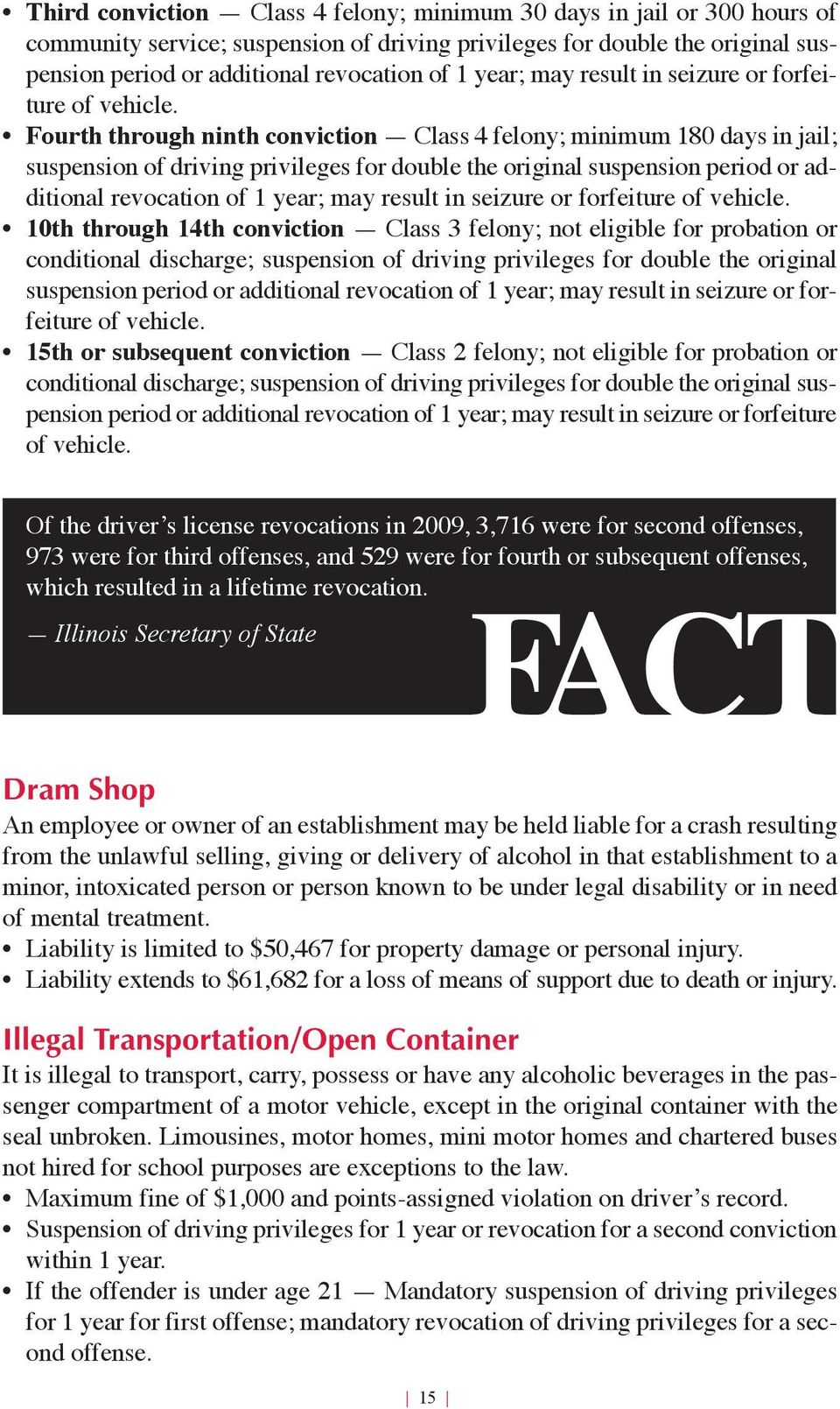 Fourth through ninth conviction Class 4 felony; minimum 180 days in jail; suspension of driving privileges for double the original suspension period or additional revocation of 1  10th through 14th