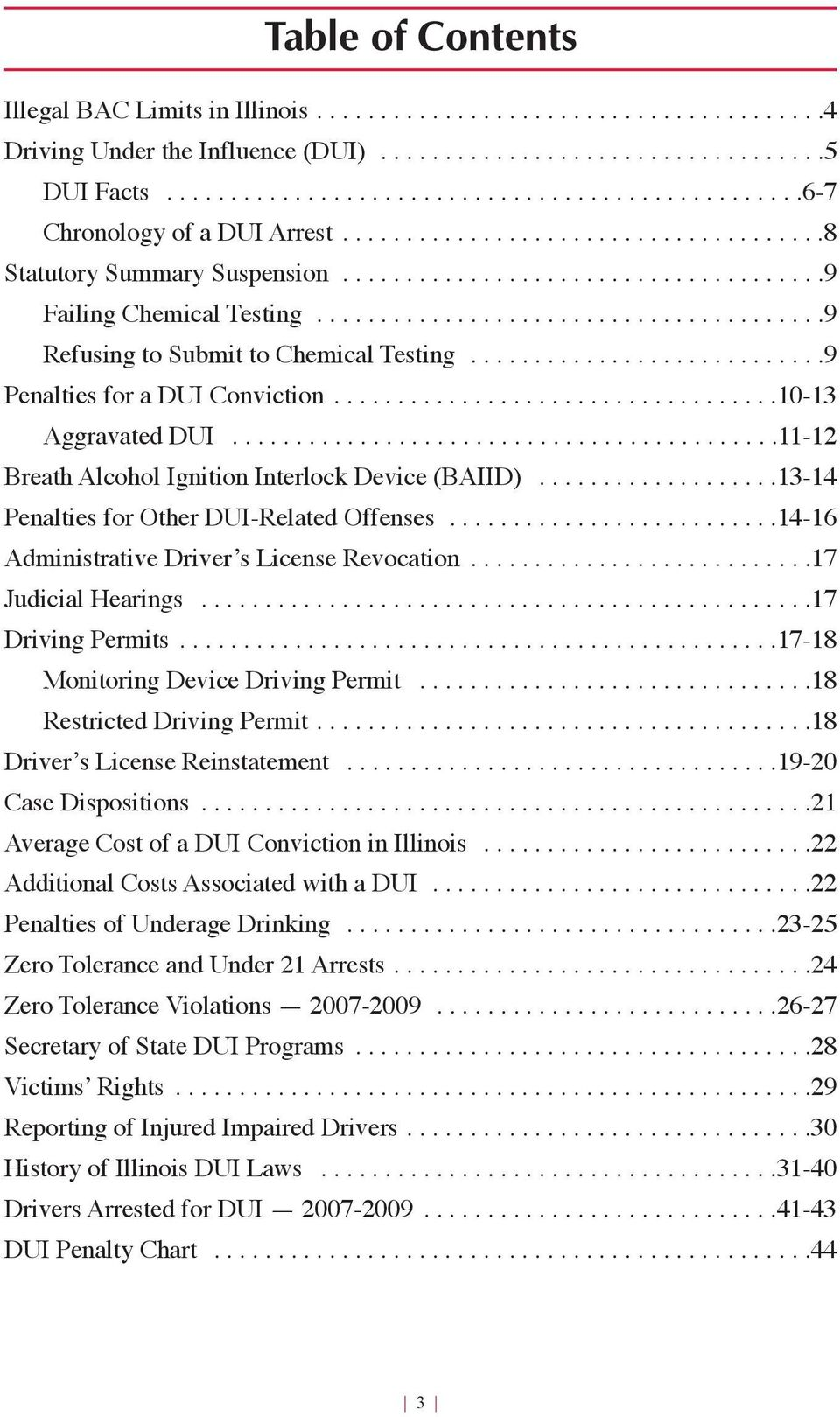 .......................................9 Refusing to Submit to Chemical Testing............................9 Penalties for a DUI Conviction...................................10-1 Aggravated DUI.