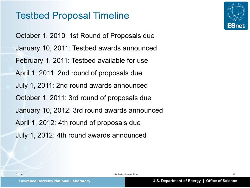 2nd round awards announced October 1, 2011: 3rd round of proposals due January 10, 2012: 3rd round awards