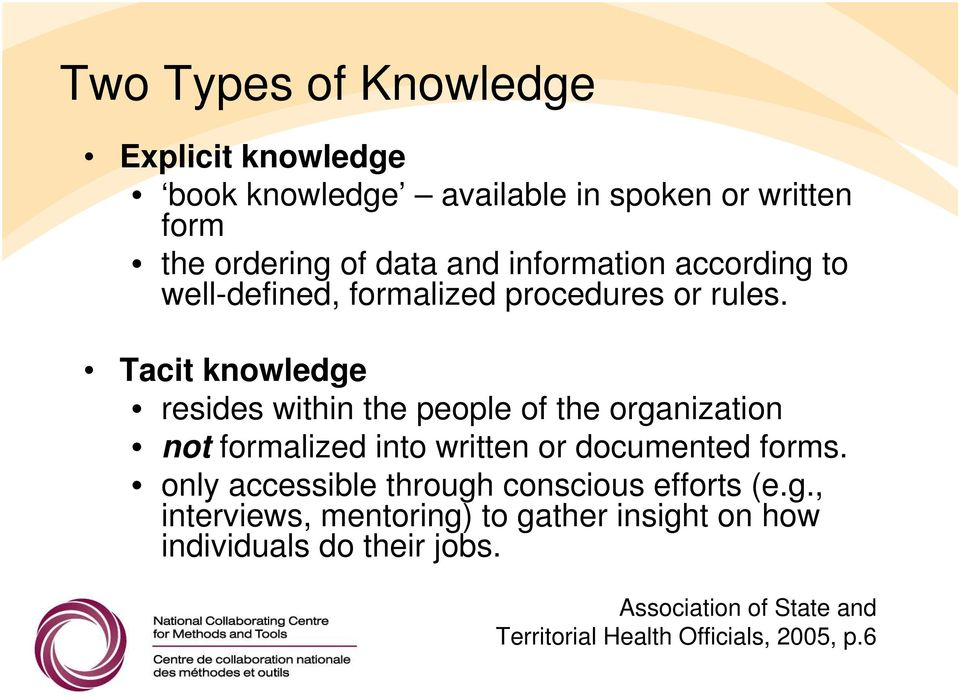 Tacit knowledge resides within the people of the organization not formalized into written or documented forms.