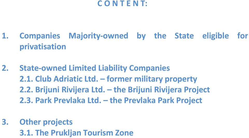 State owned Limited Liability Companies 2.1. Club Adriatic Ltd.