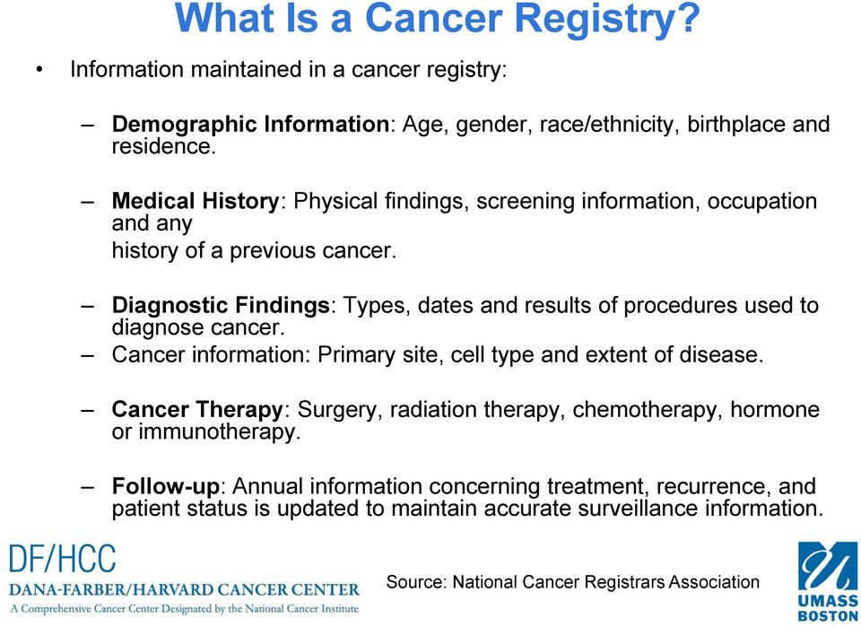 Diagnostic Findings: Types, dates and results of procedures used to diagnose cancer. Cancer information: Primary site, cell type and extent of disease.