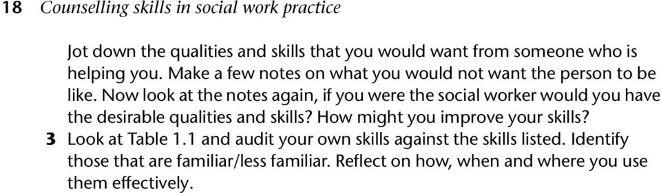 Now look at the notes again, if you were the social worker would you have the desirable qualities and skills?
