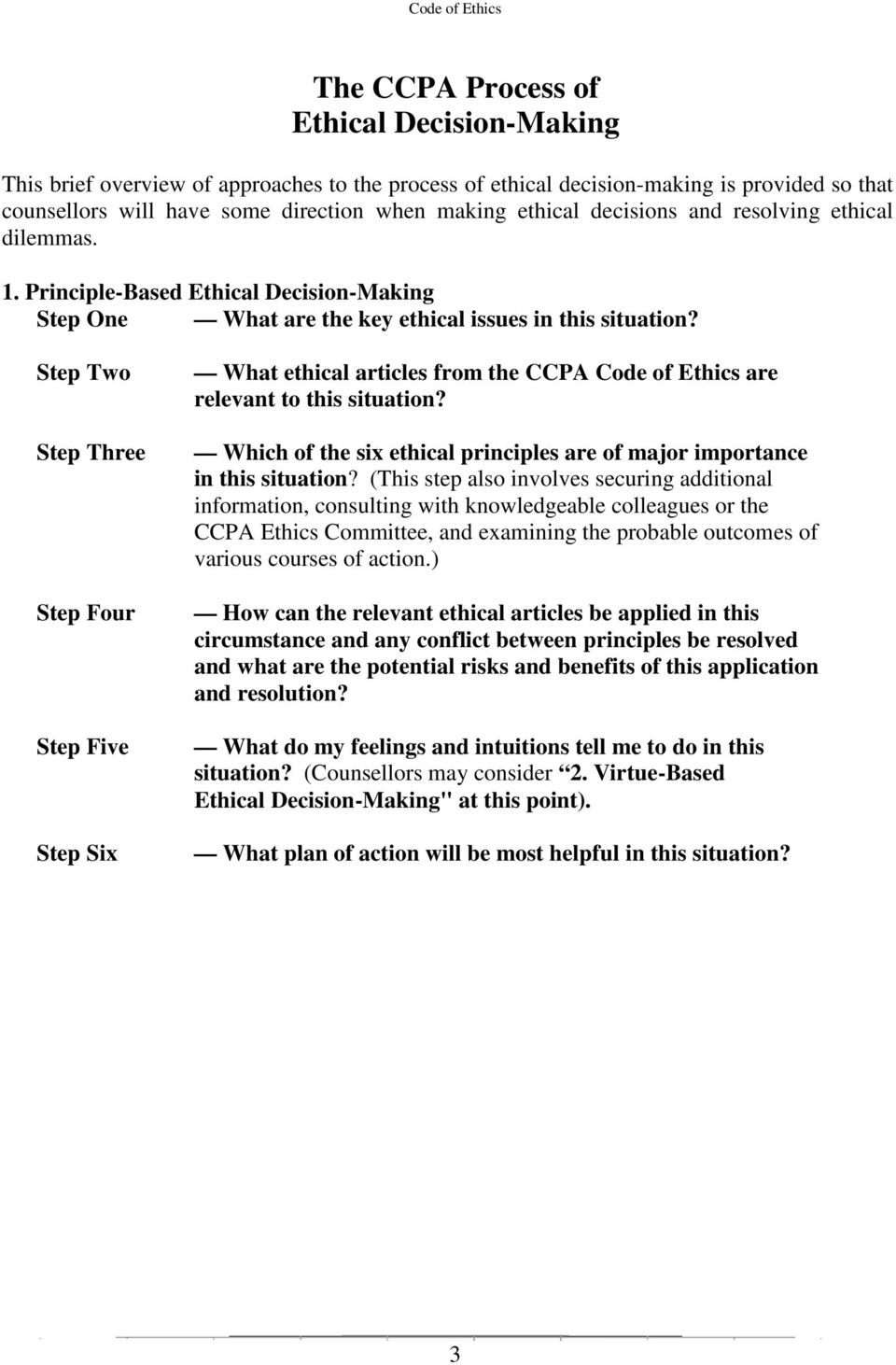 Step Two Step Three Step Four Step Five Step Six What ethical articles from the CCPA Code of Ethics are relevant to this situation?