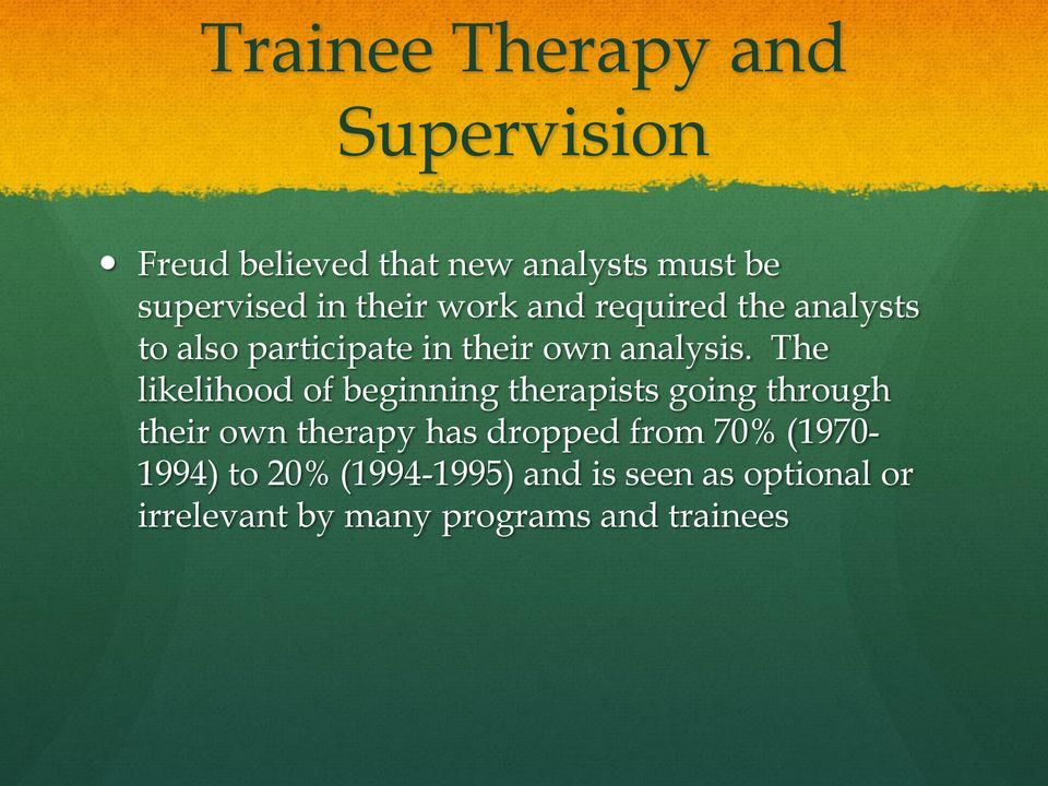 The likelihood of beginning therapists going through their own therapy has dropped from