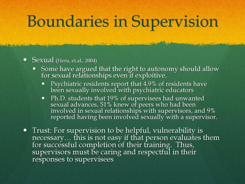 students that 19% of supervisees had unwanted sexual advances, 51% knew of peers who had been involved in sexual relationships with supervisors, and 9% reported having been