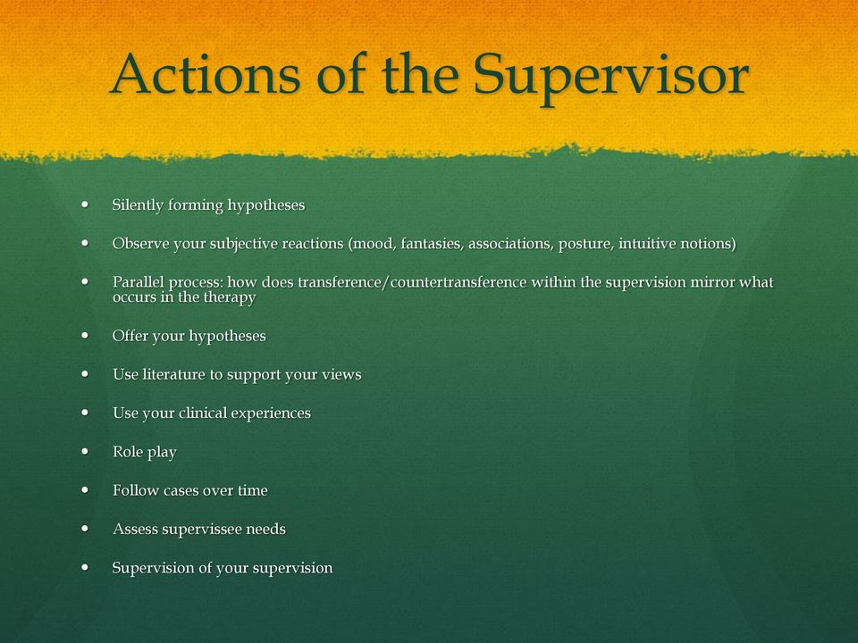 the supervision mirror what occurs in the therapy Offer your hypotheses Use literature to support your views