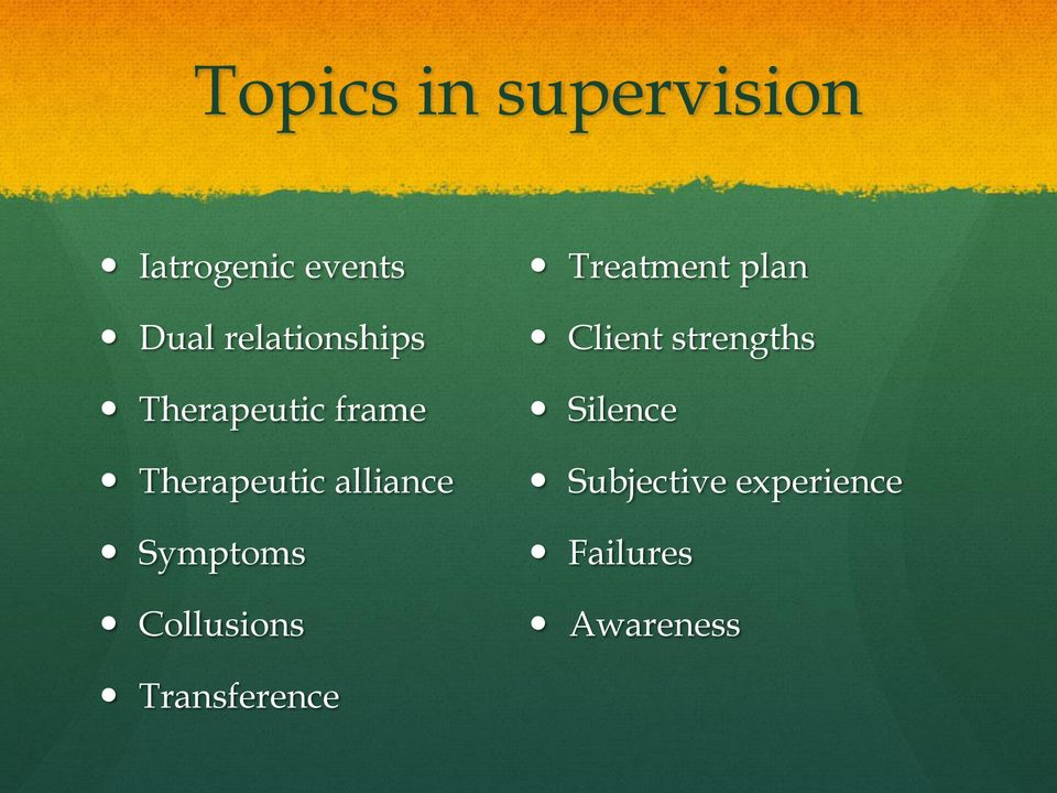 Symptoms Collusions Treatment plan Client strengths