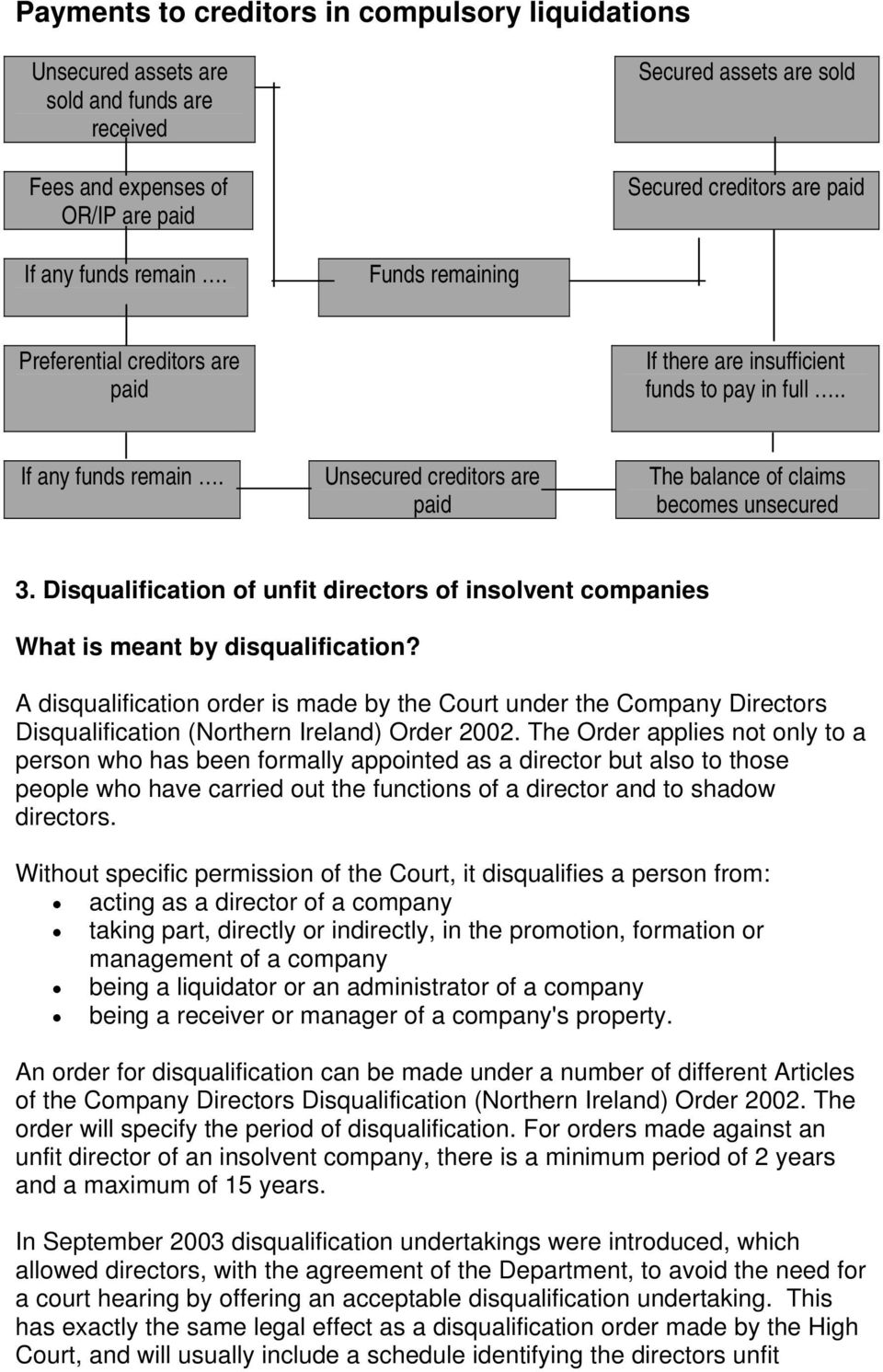 Disqualification of unfit directors of insolvent companies What is meant by disqualification?