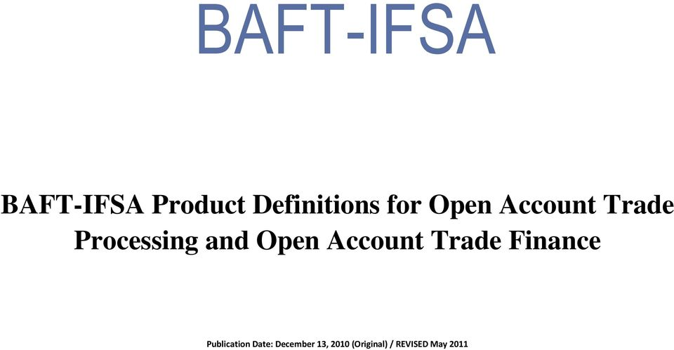 Open Account Trade Publication Date: