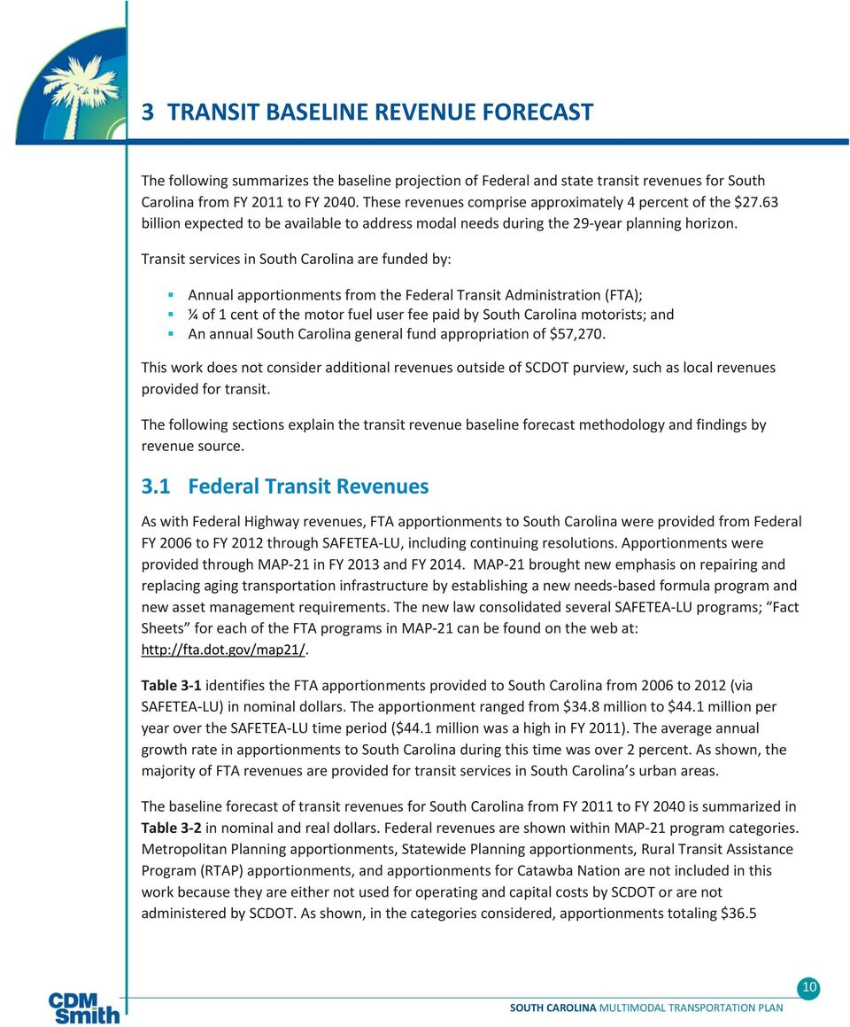 Transit services in South Carolina are funded by: Annual apportionments from the Federal Transit Administration (FTA); ¼ of 1 cent of the motor fuel user fee paid by South Carolina motorists; and An