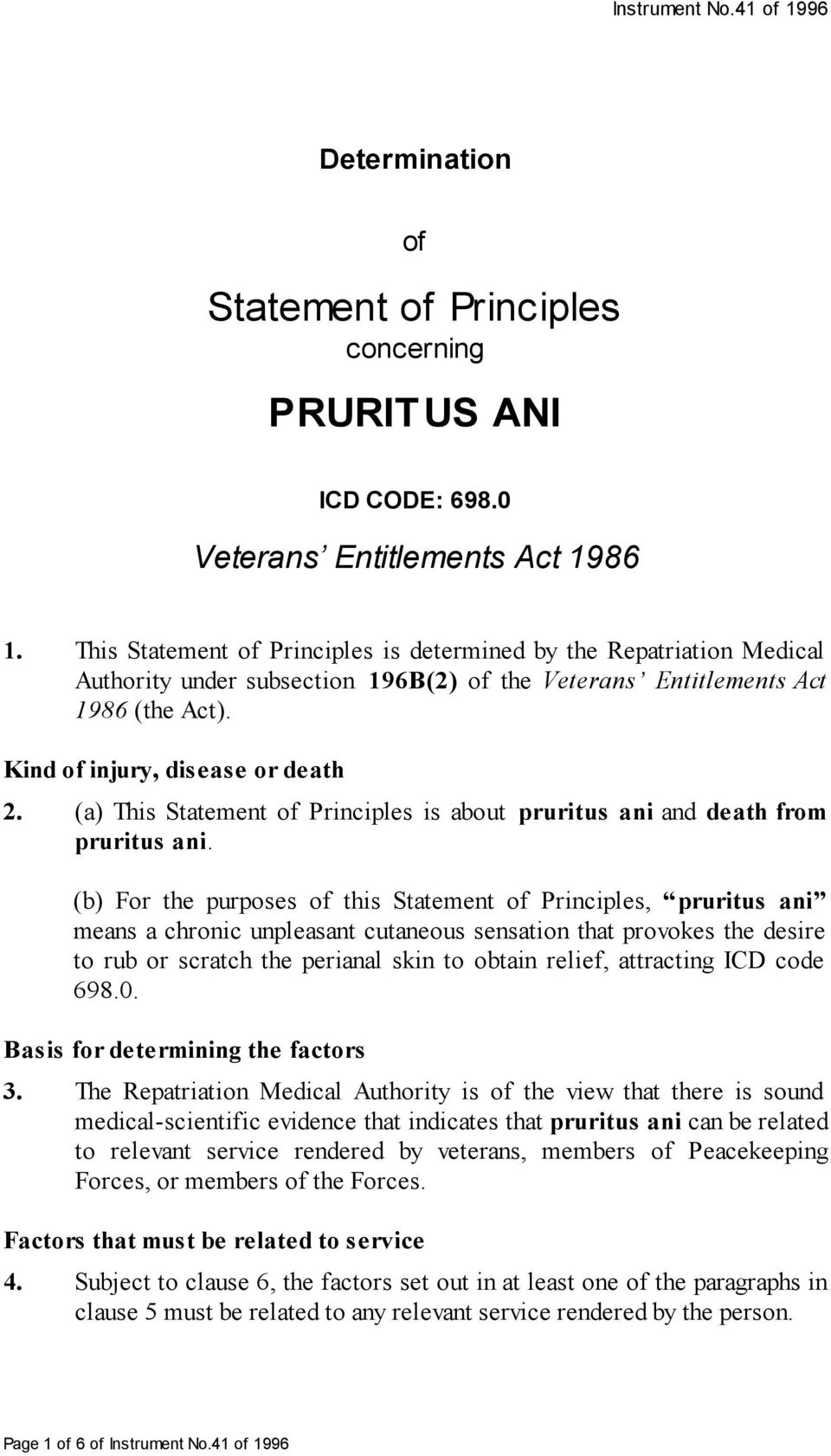 (a) This Statement of Principles is about pruritus ani and death from pruritus ani.