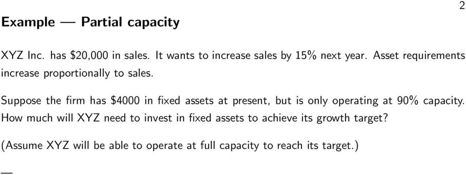 Suppose the firm has $4000 in fixed assets at present, but is only operating at 90% capacity.