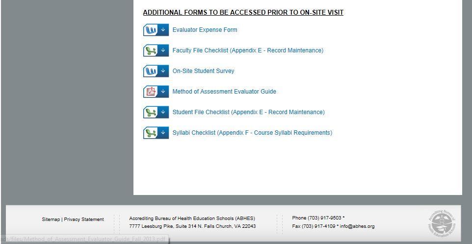 Next, download or print the Method of Assessment Evaluator Guide located underneath the evaluator reports.