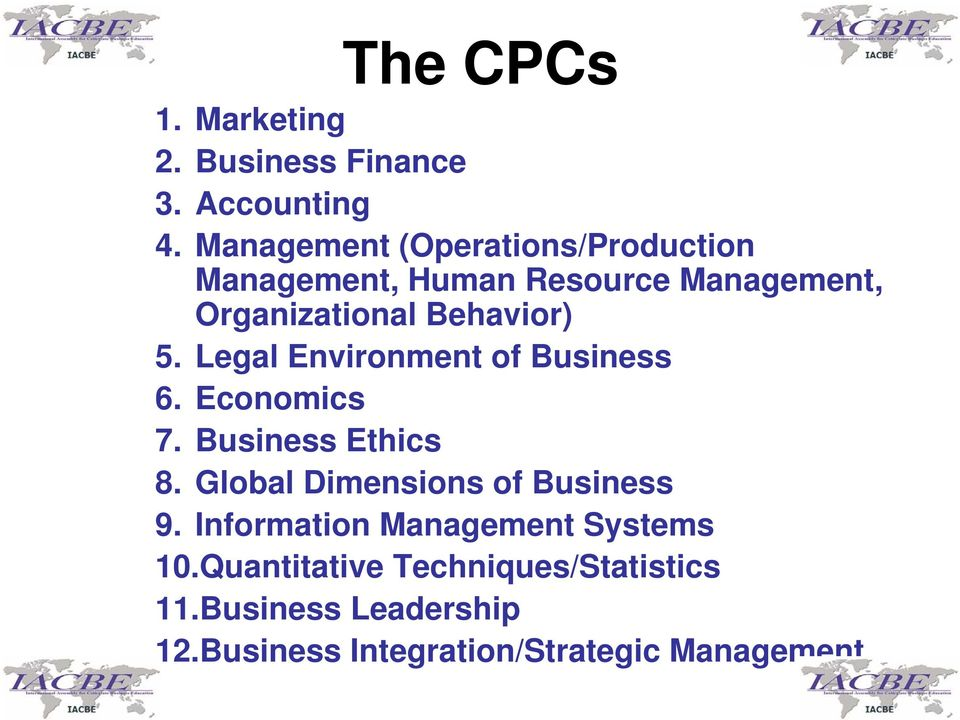 5. Legal Environment of Business 6. Economics 7. Business Ethics 8.