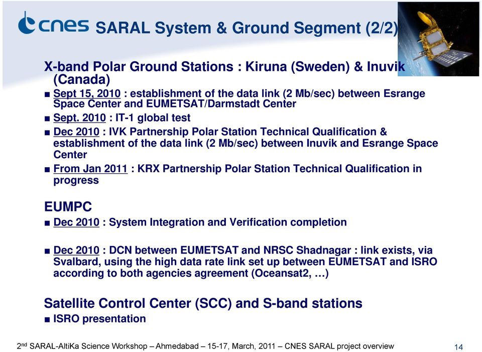 2010 : IT-1 global test Dec 2010 : IVK Partnership Polar Station Technical Qualification & establishment of the data link (2 Mb/sec) between Inuvik and Esrange Space Center From Jan 2011 : KRX