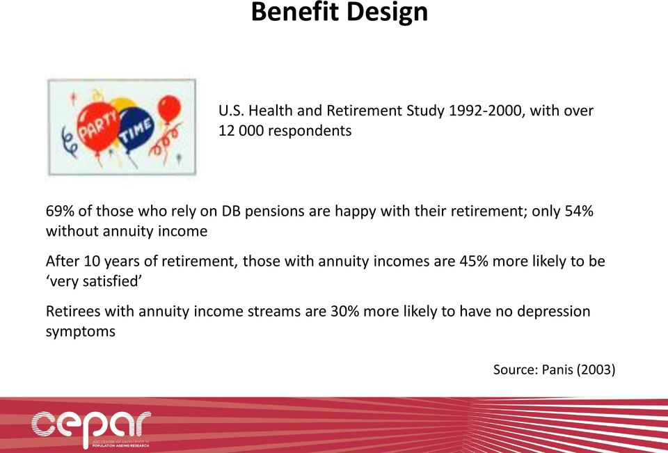pensions are happy with their retirement; only 54% without annuity income After 10 years of