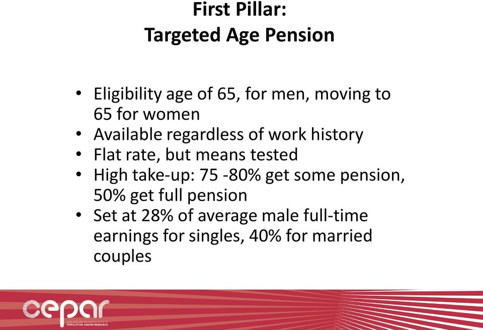 tested High take-up: 75-80% get some pension, 50% get full pension Set at