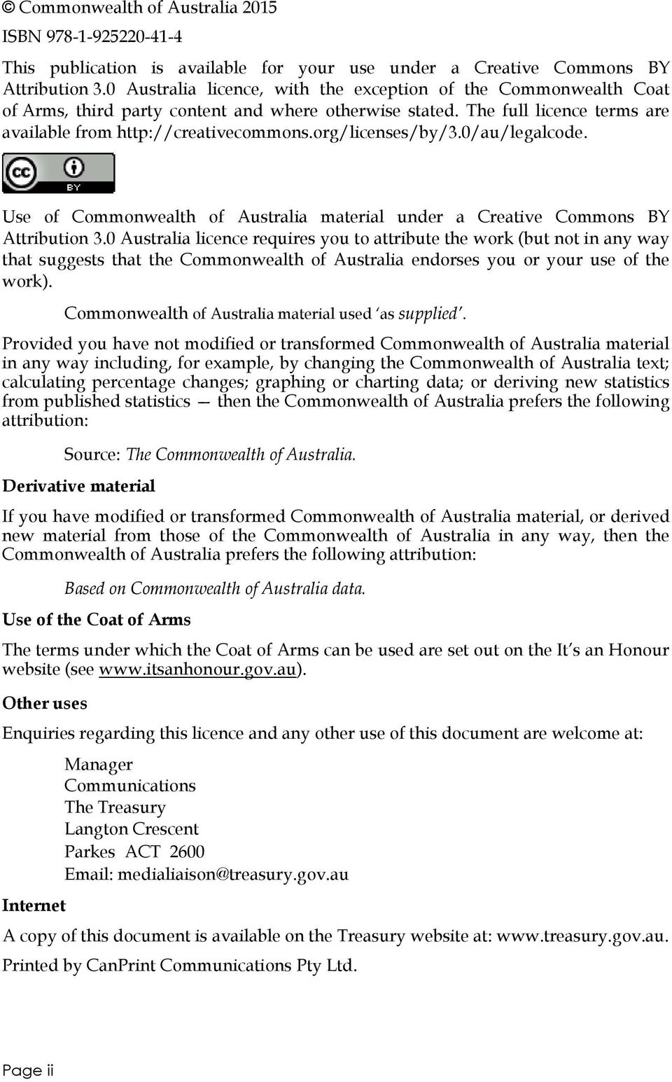org/licenses/by/3./au/legalcode. Use of Commonwealth of Australia material under a Creative Commons BY Attribution 3.