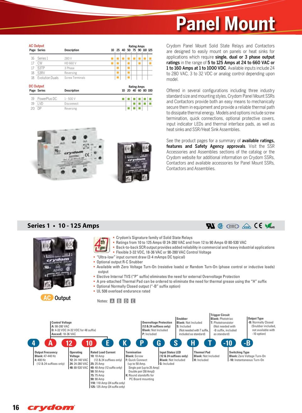 Amps at 1 to 1000 VDC. Available inputs include 24 to 280 VAC, 3 to 32 VDC or analog control depending upon model.
