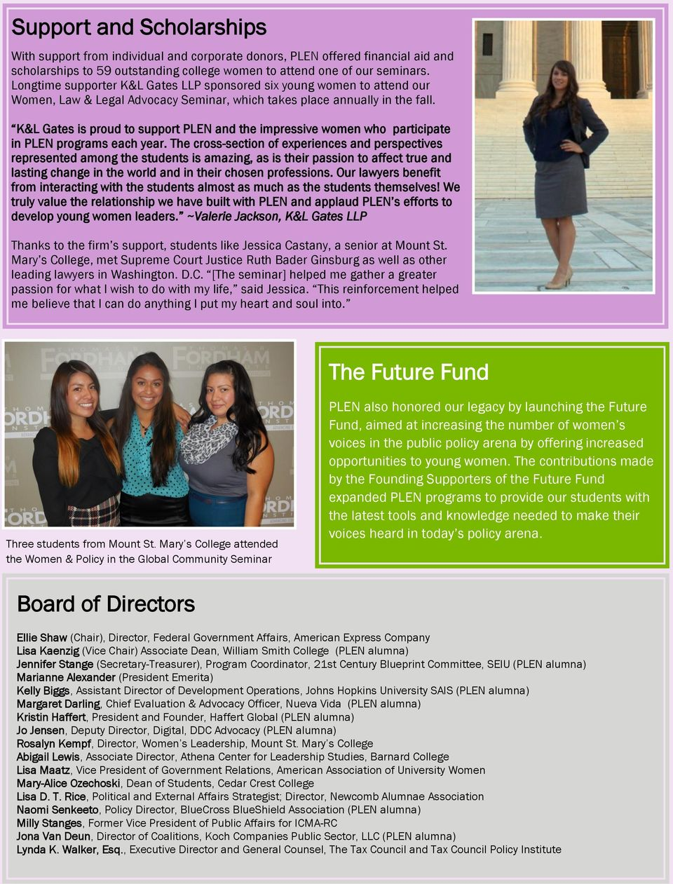 K&L Gates is proud to support PLEN and the impressive women who participate in PLEN programs each year.
