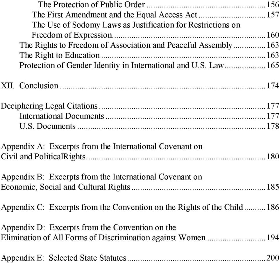 ..174 Deciphering Legal Citations...177 International Documents...177 U.S. Documents...178 Appendix A: Excerpts from the International Covenant on Civil and PoliticalRights.