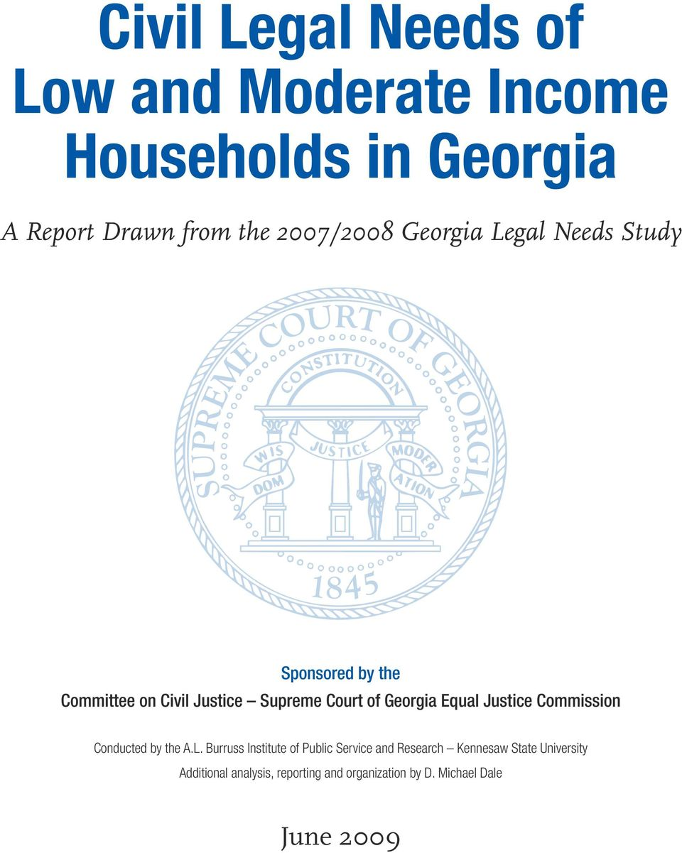 Georgia Equal Justice Commission Conducted by the A.L.